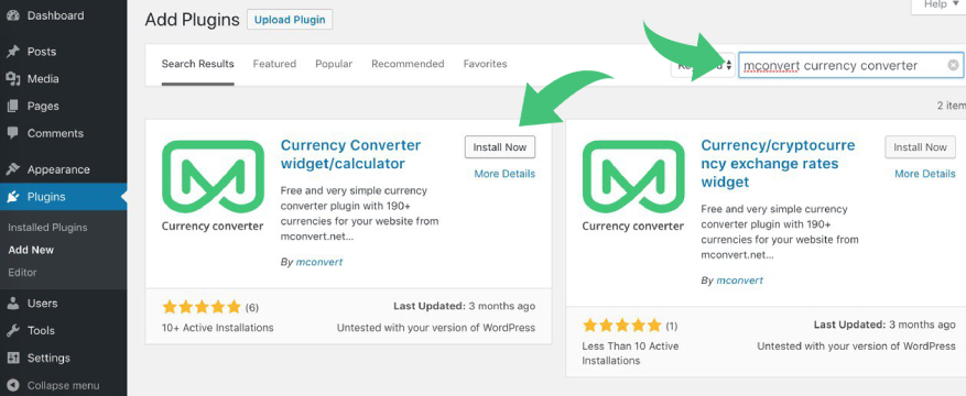 Search currency converter widget